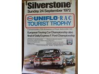 Original Silverstone poster from 1972 Tourist Trophy meeting. A rare and collectable item.