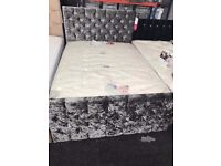 BRAND NEW EX DISPLAY! Silver double bed with storage and diamante's £275