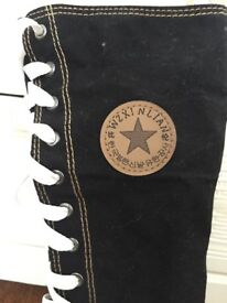 Long black calf-length gothic converse-style boots women's size 6