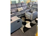 New grey velvet recliner suite