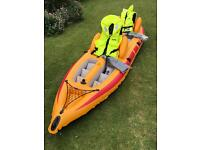 Inflatable Kayak 2 man complete with life jackets, oars and new hi-output double quick 2 air pump.