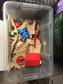 Collection of Brio train track and trains