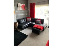 Corner sofa and poof