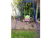 Swing frame with toddler / baby seat