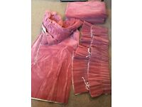 Velvet long curtains dusky pink 82in / 208cm drop by 66in / 168cm wide, 4 curtains and 2 pelmets