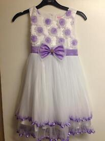 Girls purple and white dress