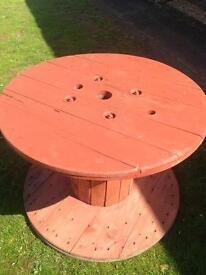Upcyled cable drum garden table