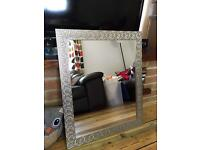 Silver mosaic effect hanging mirror