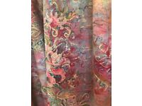 Excellent Quality Curtains - 4 In Total With Tie Backs, Side Trims, Pinks, Reds, Gold, Turquoise