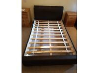 Small Double Faux Leather bed with optional matress
