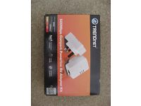 TRENDNET AV 500 compact powerline adaptor kit, TPL-406E2K, 2 unit starter kit, boxed, working.