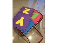 FOAM PLAY MAT ALPHABET AND NUMBERS - 38 interlocking mats with removal numbers and letters