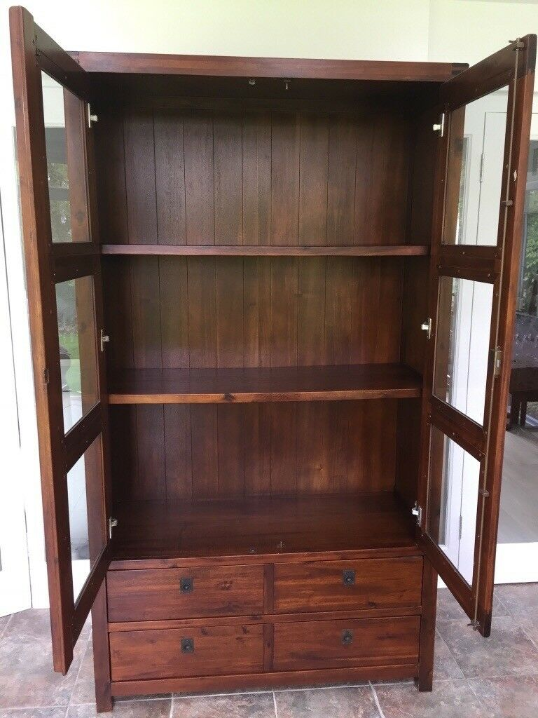 Tall Wooden Glass Fronted Display Cabinet In Reading