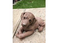 Concrete Dog with a Bone Garden ornament
