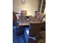 Distressed Solid Oak Dining Table & 6 Chairs (inc covers)
