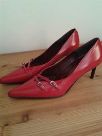 soft red leather shoes size 4(37)