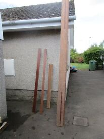 Mahogany. Large solid pieces, 3140 x 190 x 45mm, £50. 1400 x 100 x 55mm £25. Numerous smaller sizes