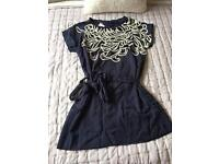 FRENCH CONNECTION unworn with tags gorgeous midnight blue lined dress with Sequin detailing. 12