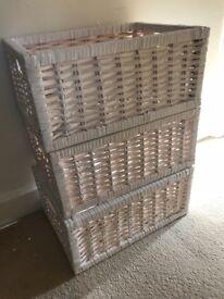 3 white cane basket , good condition