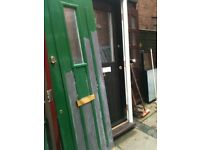 Composite door with frosted panel and frame