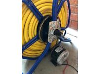 Home made power up hose reel with 100m of 8mm micro-bore hose, wfp, window cleaning