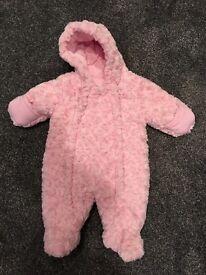 Girls pink snowsuit 0-3 months - as new