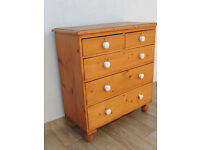 Antique large wooden chest of drawers with ceramic handles (Delivery possible)