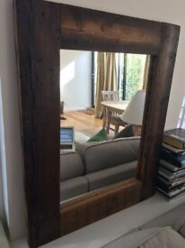 Large timber framed wall mirror
