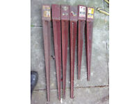 6 Metpost Long wedge-grip post supports for garden fences e.t.c.