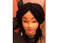 Hand made braided wig. Colour 1b