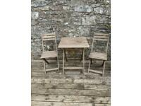 Small fold up wooden garden table and chair set