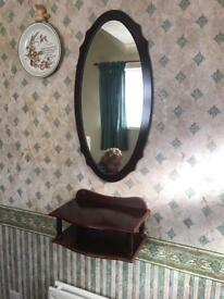 Telephone shelf and matching mirror