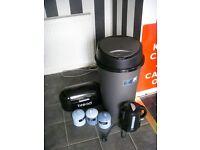 silver grey 45l bin canisters bread bin black kettle