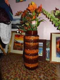 Large brown W german floor vase