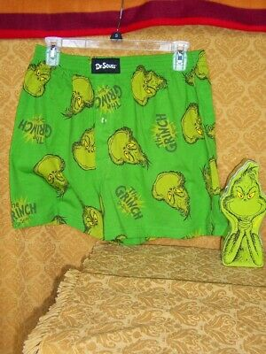 Grinch BOXER Sleep SHORTS Dr. Seuss GREEN Boxers in Gift Tin Christmas New -