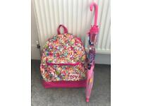 Shopkins Pink Backpack & My Little Pony Umbrella
