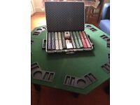 1000 Poker chips set (complete) + Poker Table