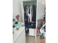 Wardrobe for sale - white small childs wardrobe nearly new