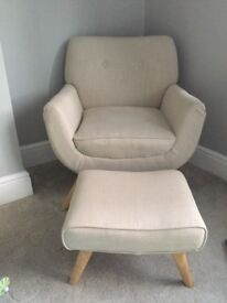 Cream arm chair and stool