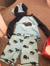Unworn boys swim outfit with hat size 12-18 months