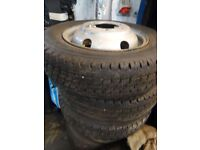 2 SETS TRANSIT WHEELS AND TYRES 1set new 185 75 16s other set 195 75 16s £45 each whl opn sun 4pm