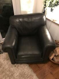 Chocolate brown leather tub chair