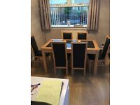 Oak and granite dining table and 6 chairs