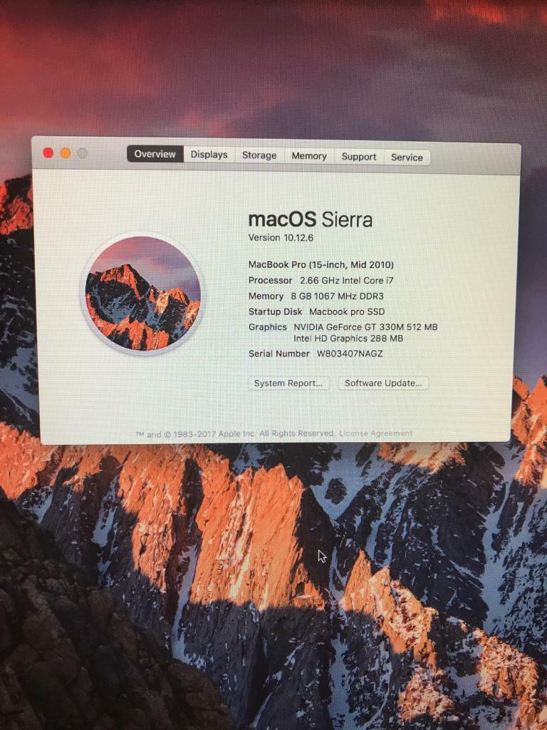 "Macbook Pro 15"" 2.66 i7, 8 GB Ram, 512 GB SSD mid 2010"