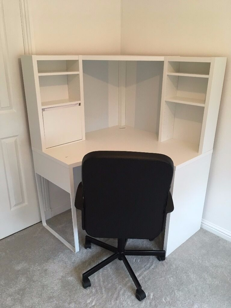 ikea micke corner computer desk white in motherwell north lanarkshire gumtree. Black Bedroom Furniture Sets. Home Design Ideas