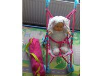 Dolls Pram, Doll & Dolls Travel Cot