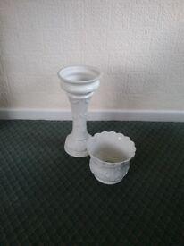 White Jardiniere Plant Pot Holder - Pedestal & seperate plant holder