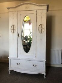 Vintage, white shabby chic, French style Pine wardrobe
