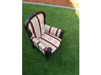 Armchair for small child or doll, regency stripe.