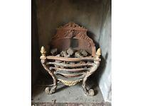 Ornate wrought iron fireplace